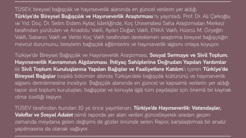 Türkiye'de Bireysel Bağışçılık ve Hayırseverlik Araştırması Yayınlandı